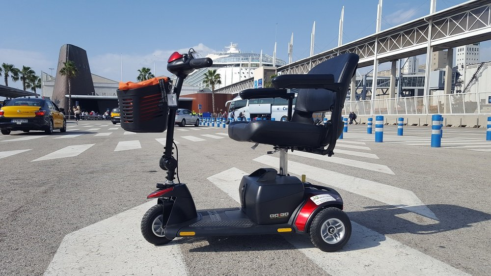 Mobility Scooter Symphony of the Seas by Royal Caribbean outside Port Barcelona